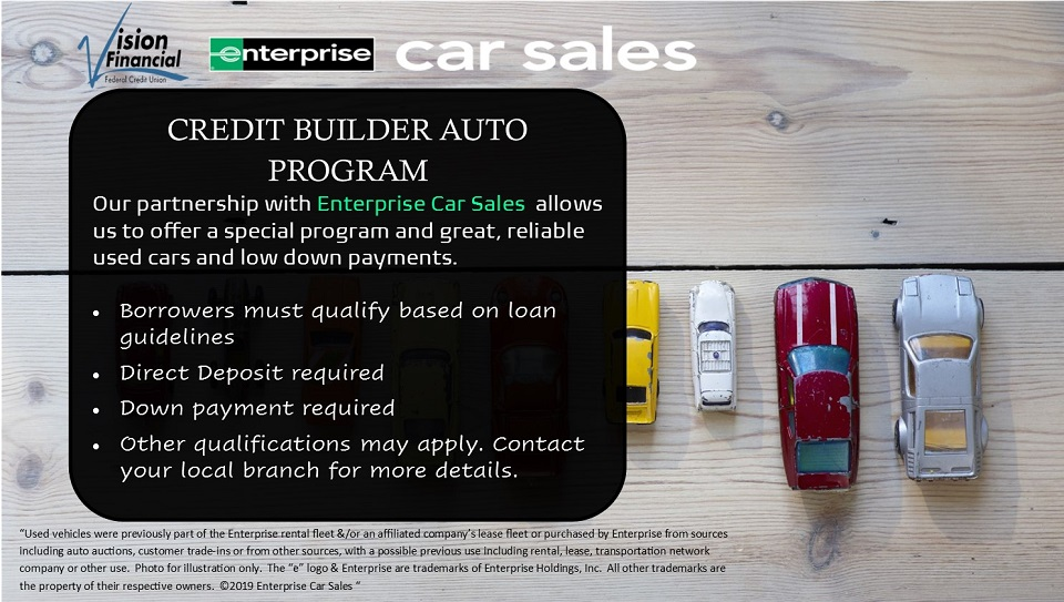 Our partnership with Enterprise creates a program with reliable used cars with low down payments